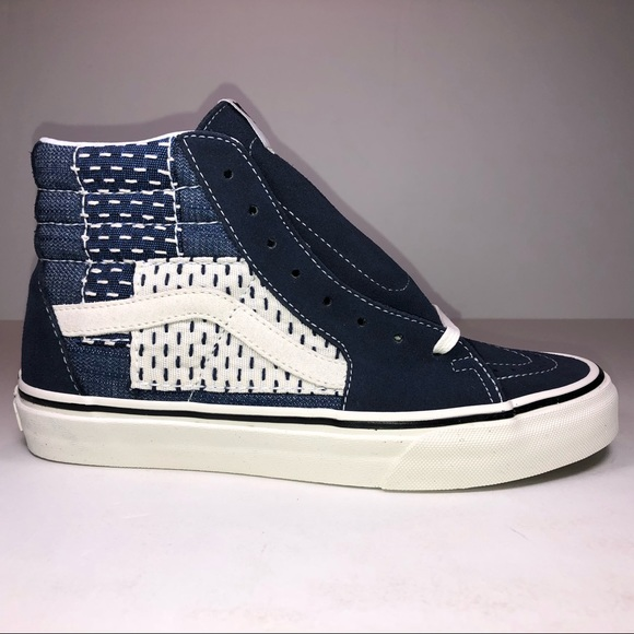 bbb2a7bf14bba5 Vans SK8 Hi Patchwork Denim Blue   White Sneakers